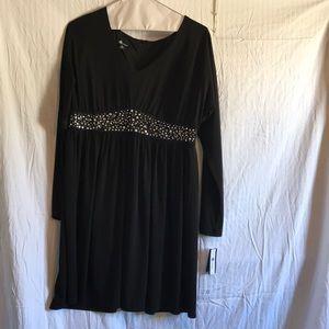 Embellished Long Sleeve Jersey Dress